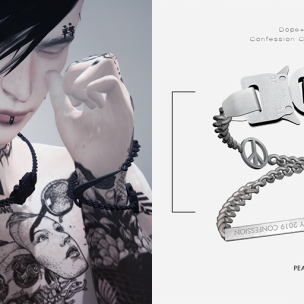 20191115 Manly Monday [Dope+Mercy]Confession Chain Bracelet__peace (Silver)