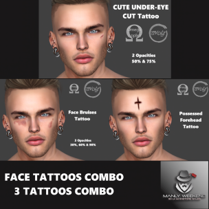 20191206 Manly Weekend Tivoly Face 3 Tattoos Combo